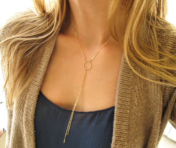 delicate gold circle y necklace