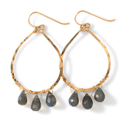 labradorite and hammered gold teardrop earrings by delia langan jewelry