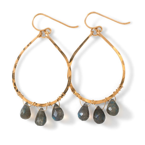 labradorite and hammered gold hoop earrings by delia langan jewelry
