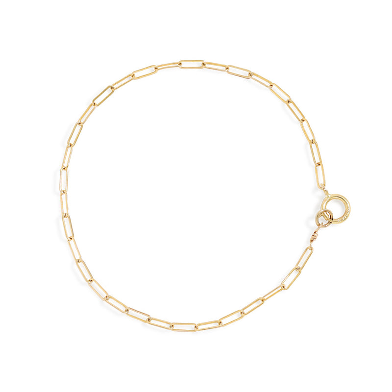 delicate gold paperclip chain bracelet