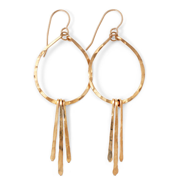 small teardrop fringe earrings in gold by tahastaffingsolutions