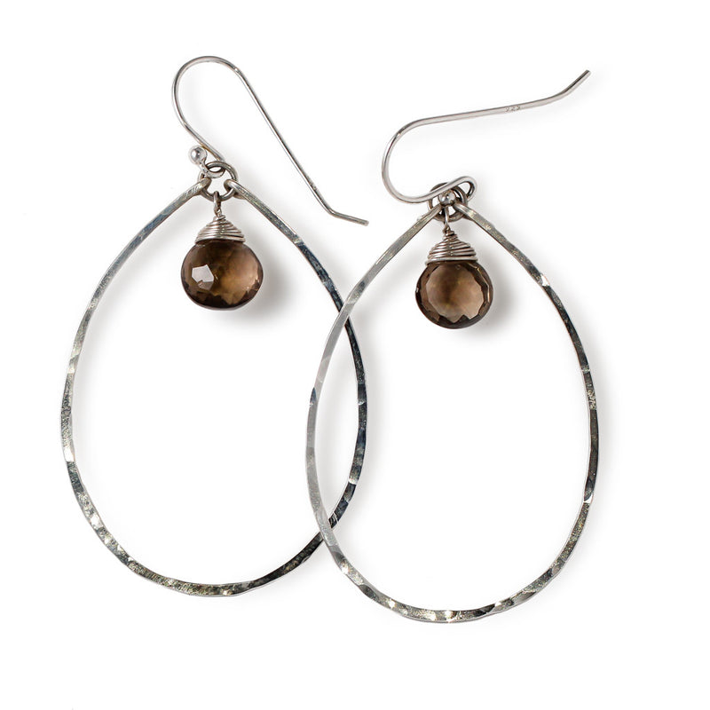 sterling silver smoky quartz silver gemstone drop hoops on a white background