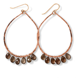 smoky quartz gemstone and rose gold teardrop oval hoop earrings