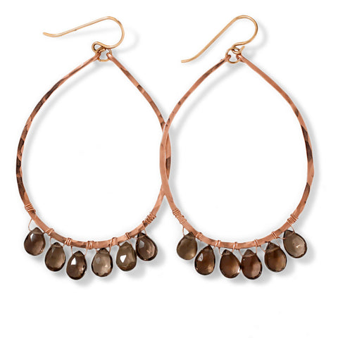 Smoky Quartz Rose Gold Teardrop Fringe Earrings