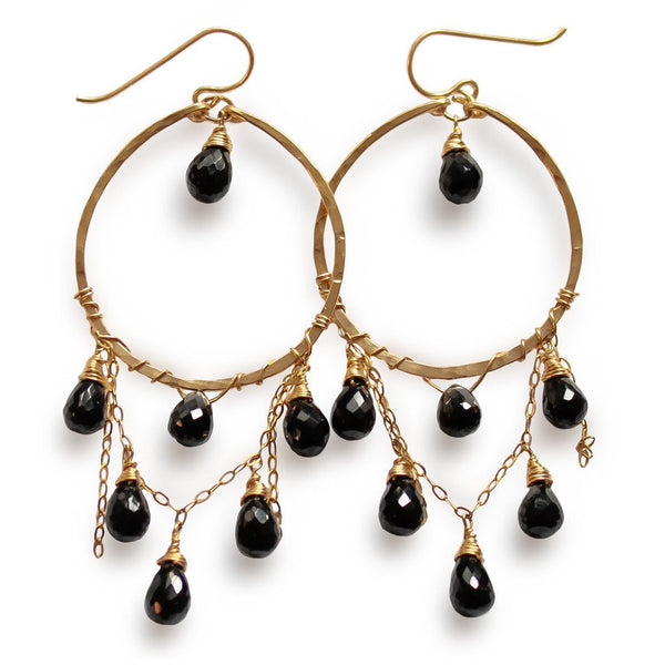 14k gold filled black spinel cascade gemstone hoops on a white surface
