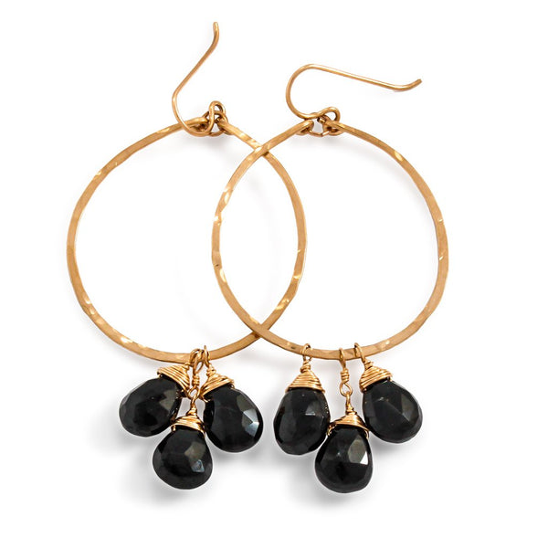 black spinel gemstone and gold hoop earrings by delia langan jewelry
