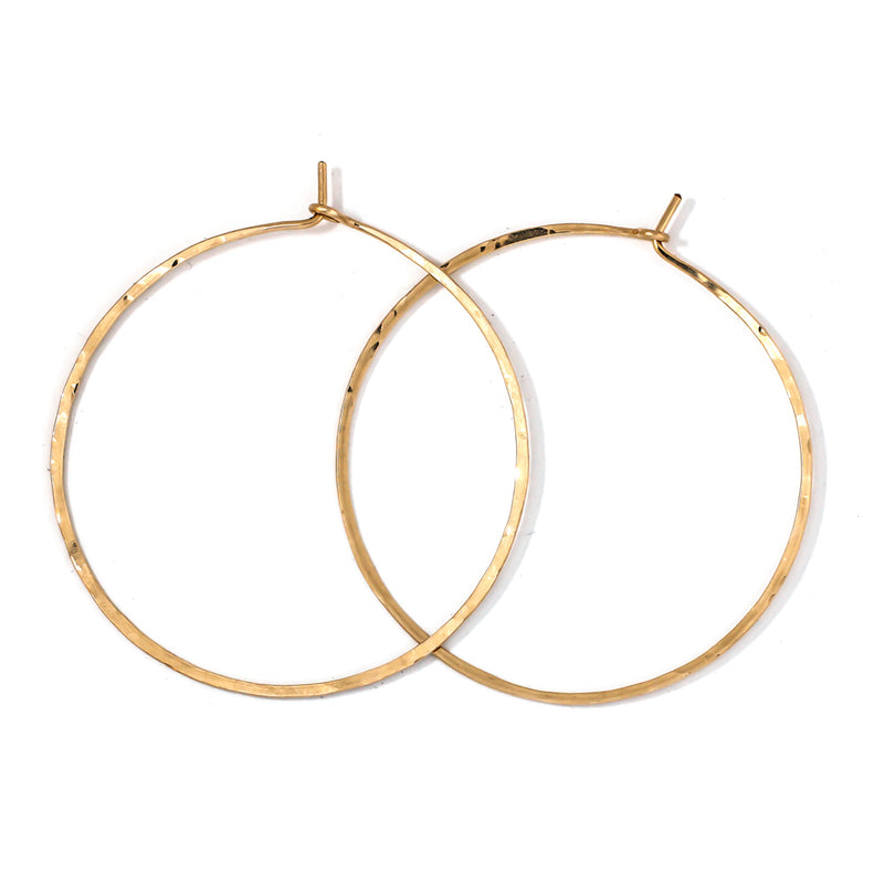 delicate thin solid 14k gold hoop earrings