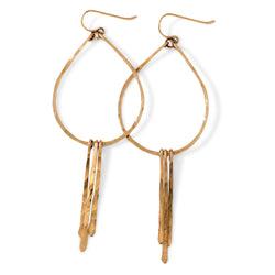 gold teardrop fringe earrings by delia langan jewelry