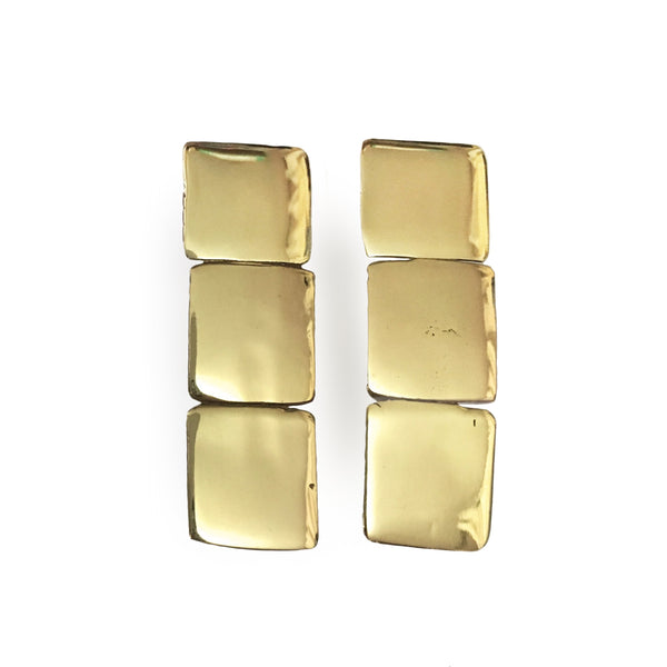 Geometric Gold or Silver Post Earrings Handmade Jewelry by Delia Langan Jewelry Williamsburg Brooklyn