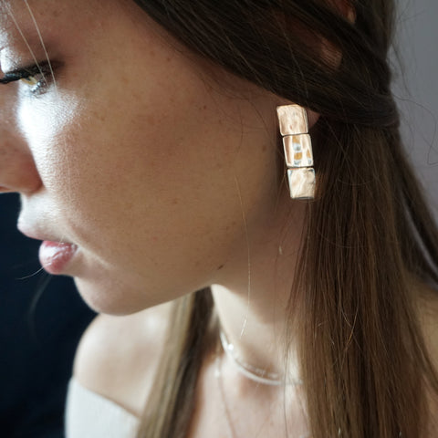 Three Square Post Earrings