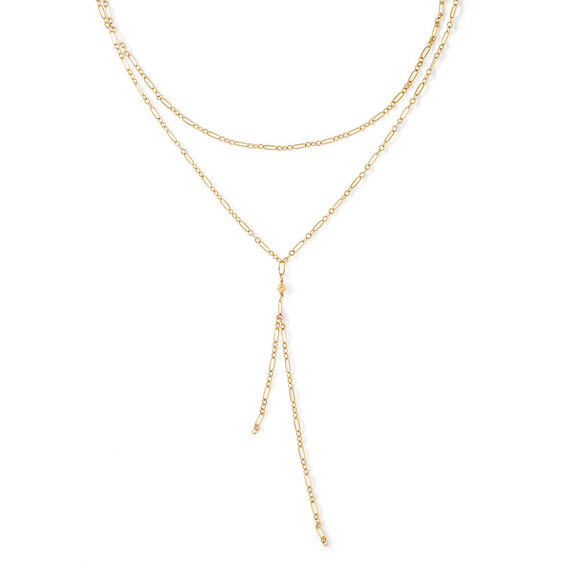 gold chain tied up choker necklace by delia langan jewelry