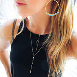turquoise arc earrings and layering necklaces by delia langan jewelry