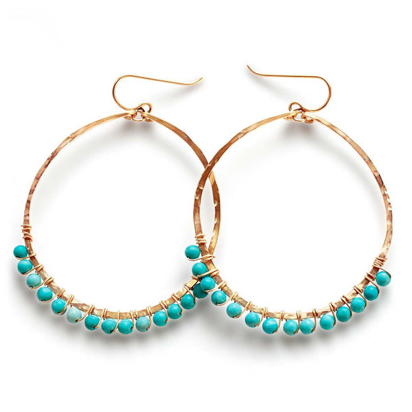 wire wrapped turquoise 14k gold filled hammered hoop earrings handmade by delia langan
