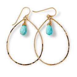 Gemstone Drop Hoops - Turquoise