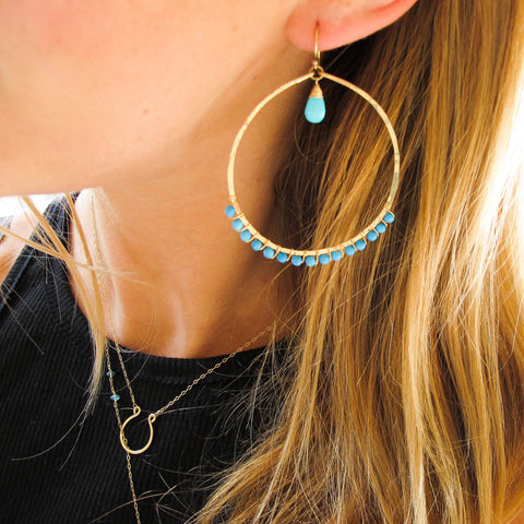 XL Turquoise Love Hoops