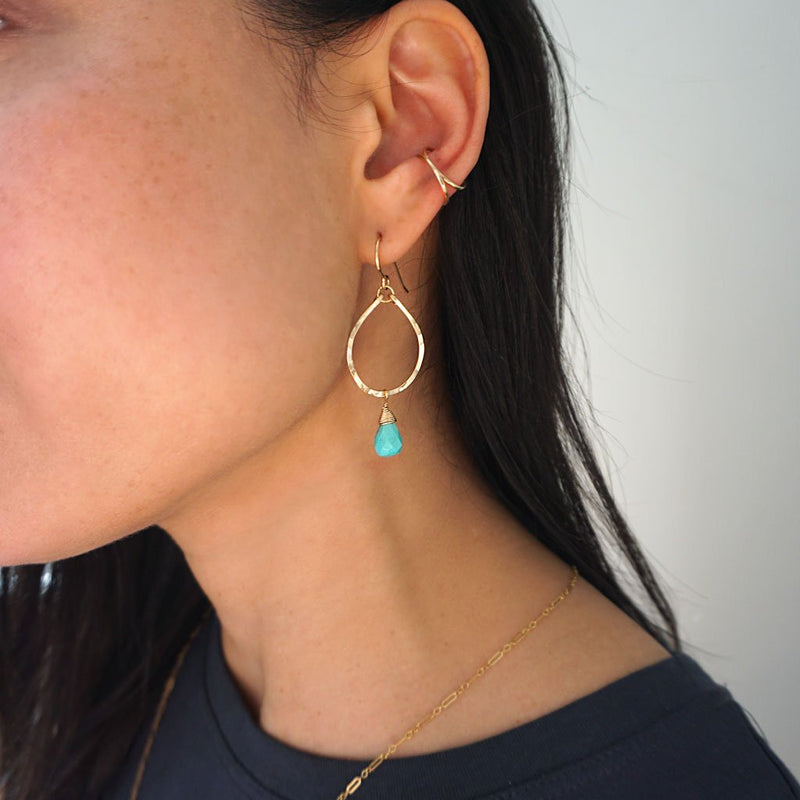 turquoise and gold teardrop earrings by delia langan jewelry