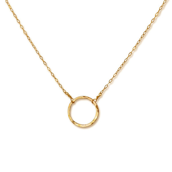 dainty 14k gold filled circle necklace delia langan jewelry