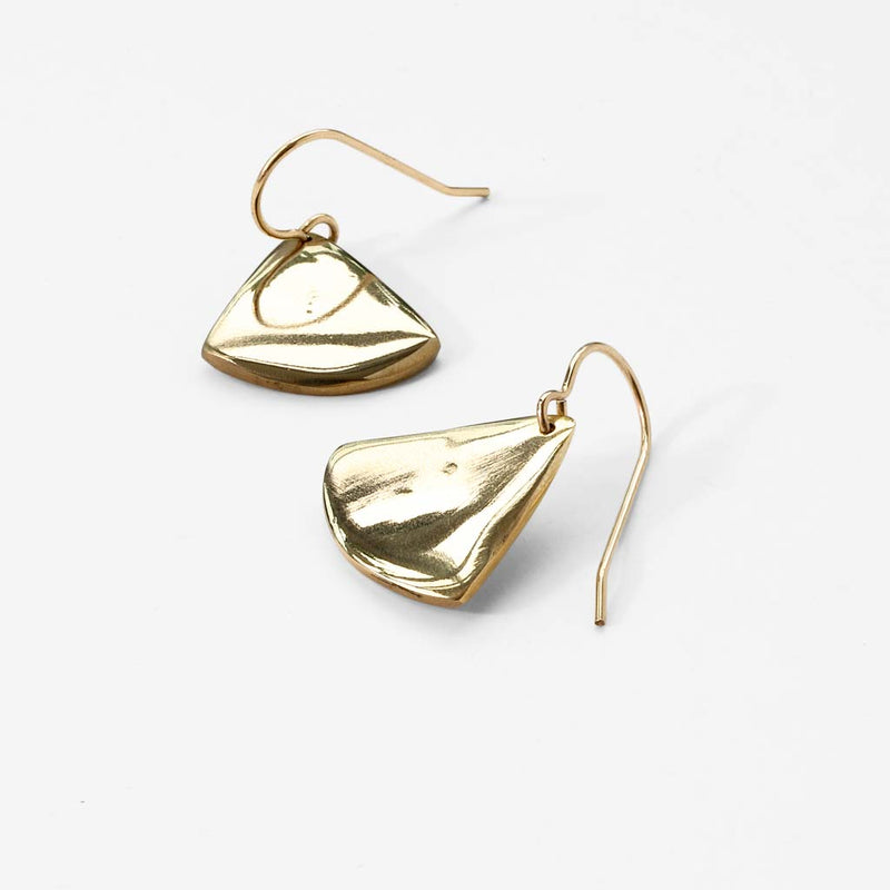 gold triangle shaped earrings by delia langan
