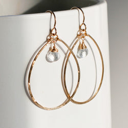 delicate white topaz and gold dangle hoop earrings
