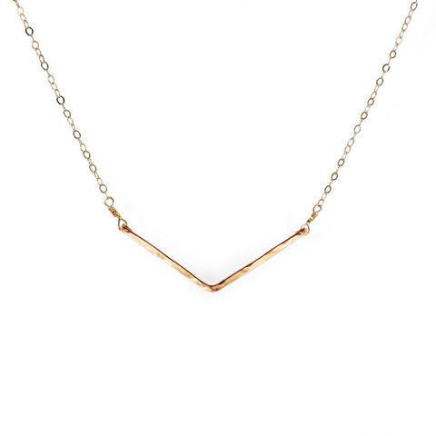 wide v necklace in gold by delia langan jewelry