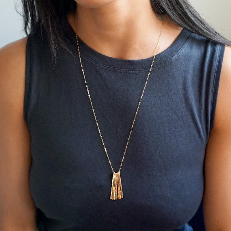 long gold fringe necklace by delia langan