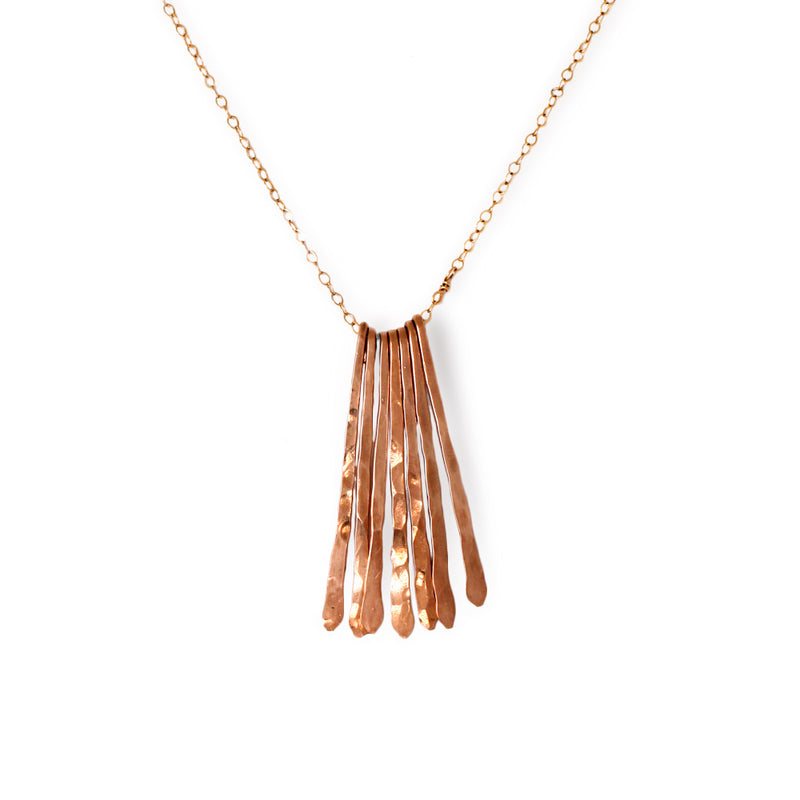 rose gold long fringe necklace by delia langan jewelry