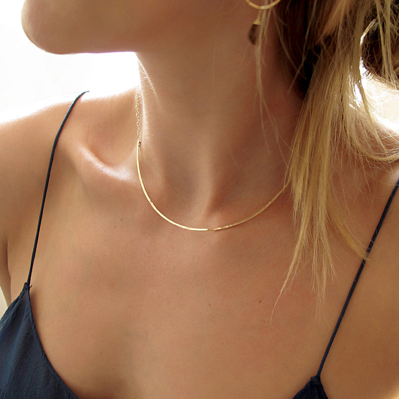 thin gold choker necklace by delia langan jewelry
