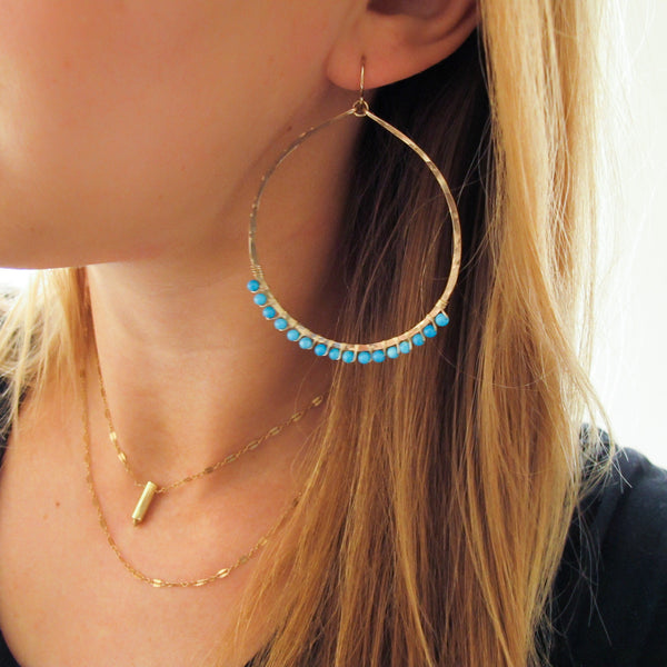 XL Gemstone Arc Hoops - Turquoise