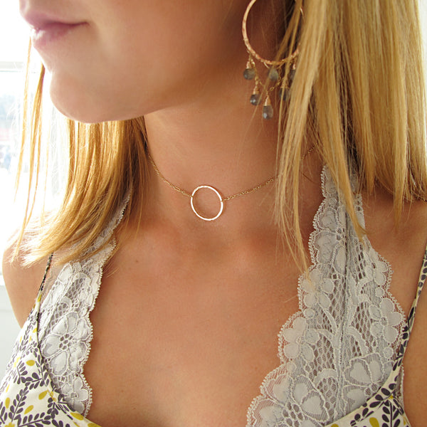 gold circle choker necklace by delia langan jewelry