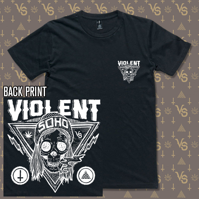Violent Soho Blazin Skull Black Tee