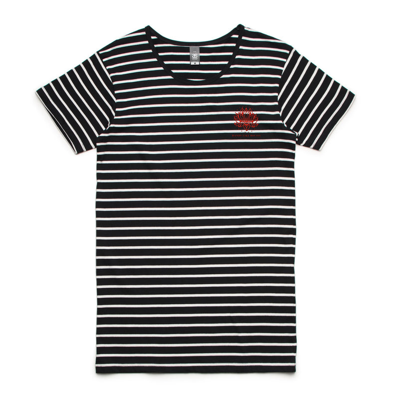 HLH - Striped Embroidered Tee