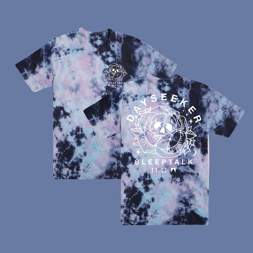 Skull Blossom White Outline Dyed Tee