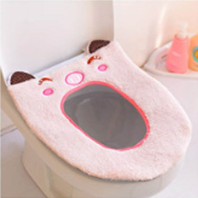 Soft Fabric Cartoon Toilet Seat Cover