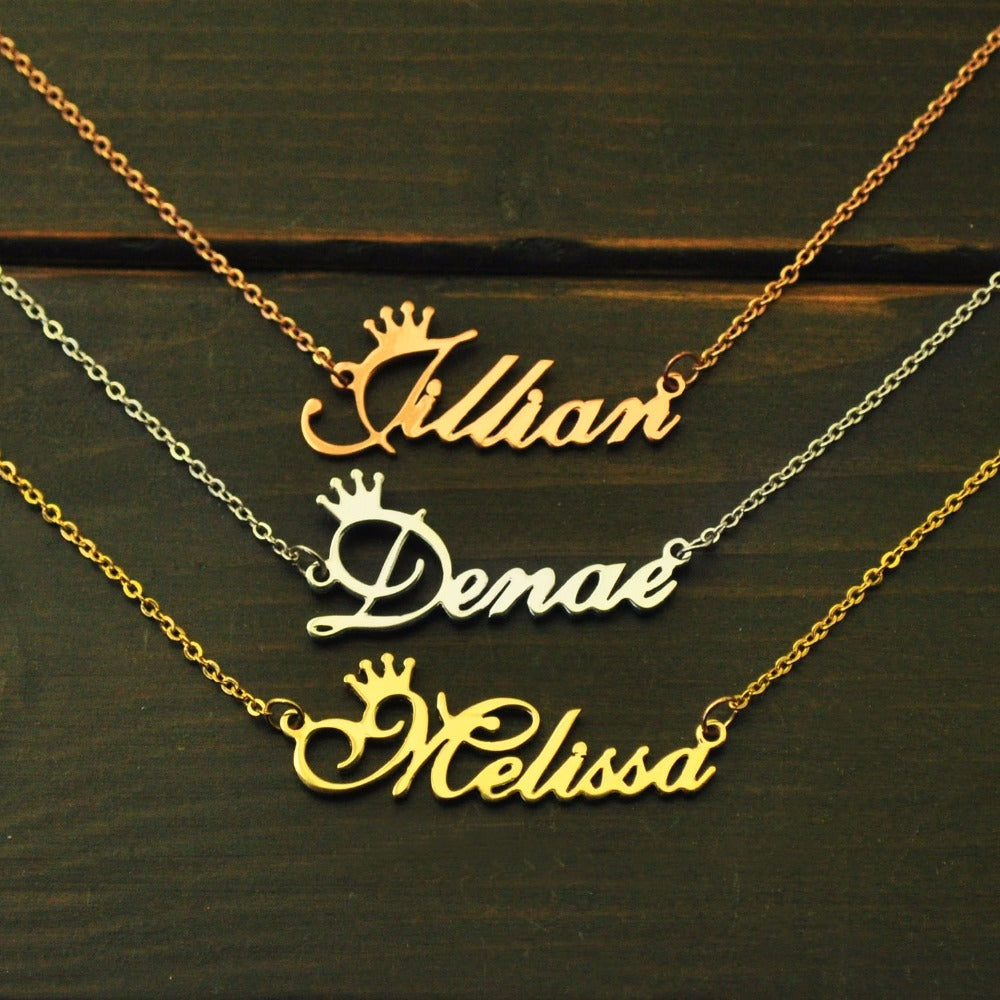 Custom Name Necklace 14K Gold & Rose Gold plating