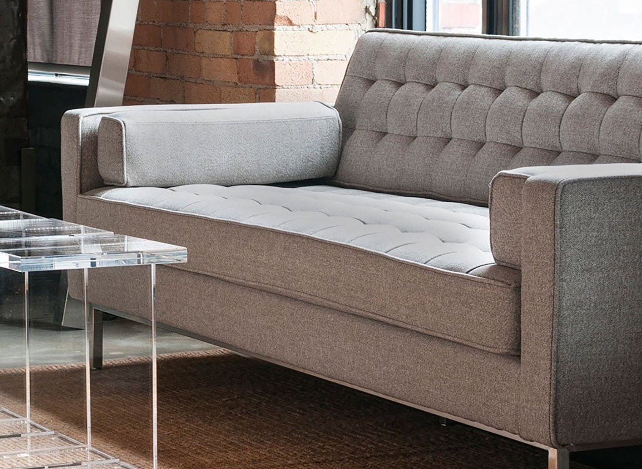 spencer  walnut leg  area  furniture for the modern home - the spencer sofa has a mid century appeal with walnut legs and a tailoredmasculine and confident feel