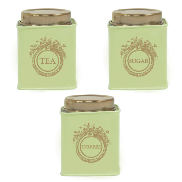 Elan Dreamer Tea, Sugar and Coffee Canister (Set of 3, Pista Green, 500 ML)