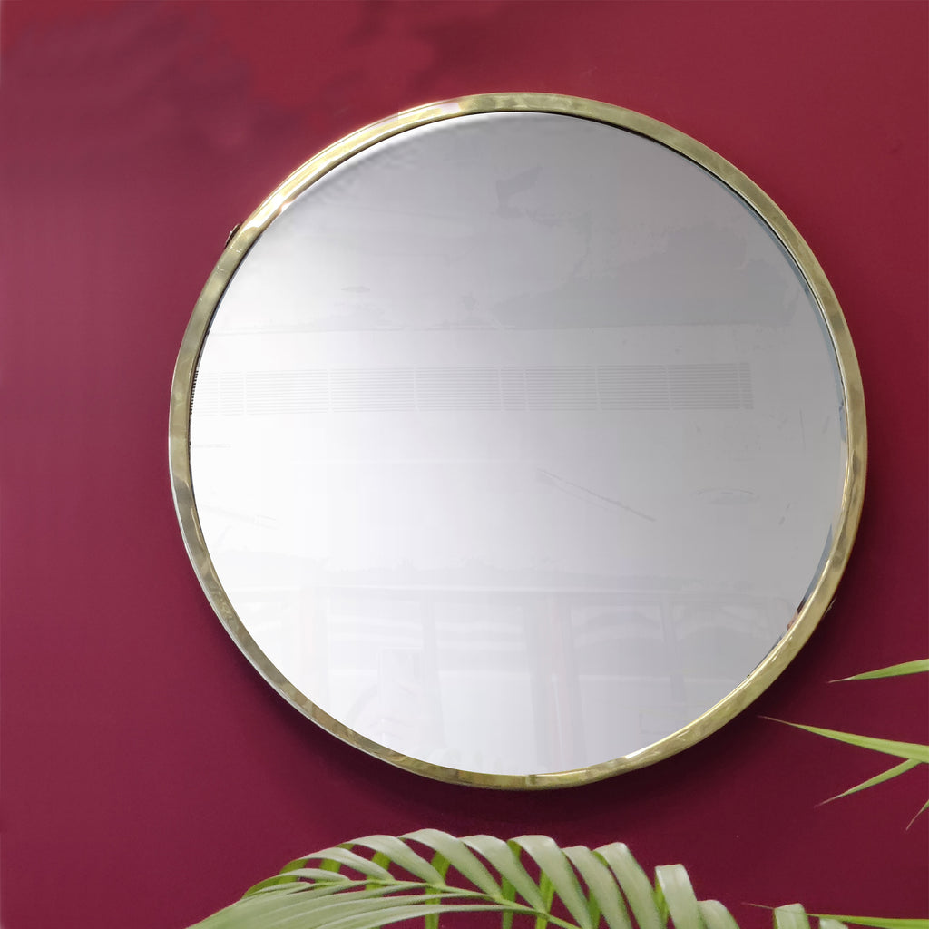 "Elan Olivia Mirror- 24"" (Brass, Nickle Finish)"