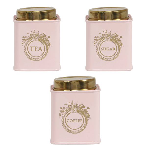 Elan Dreamer Tea, Sugar and Coffee Canister (Set of 3, Powder Pink, 500 ML)