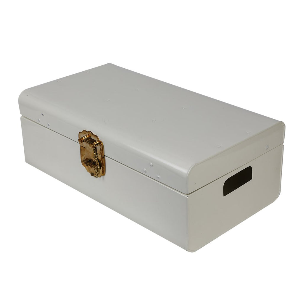 Elan Vintage Storage Trunk, Decorative Box (22*13*8.5 IN, Brass Chain Lock, Off White)