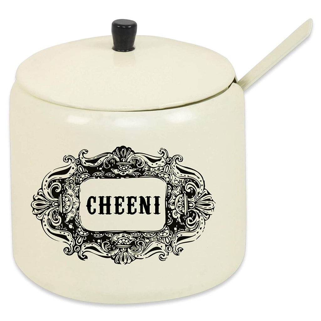 ELAN Cheeni Sugar Pot with Spoon, (Off White, Capacity 250 ML)