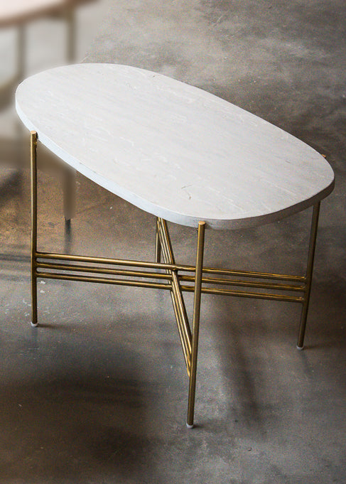 Elan Pietra Coffee Table - Oblong (Grey Sandstone, Polished Brass Finish)