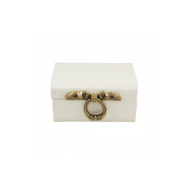 Elan Vintage Storage Trunk, Decorative Box (8*5.5 IN, Brass Ribbon Lock, Off White)