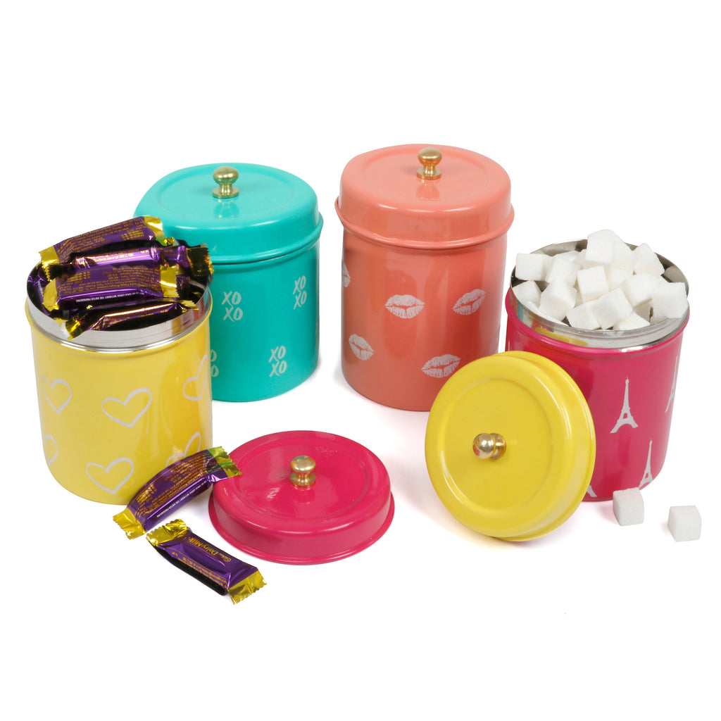 Elan Amour Canisters, Set of 4 (Stainless Steel, 0.5Litre)