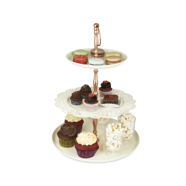 Elan Flourish Three Tier Cake Cupcake and Dessert Stand (Metal, Off White)