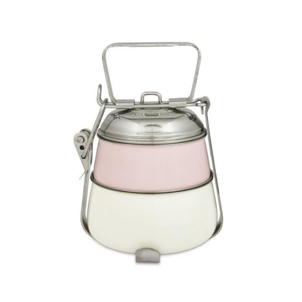 Elan Tiffin Box - Two Tier Lunch Box, Powder-Pink-Off White