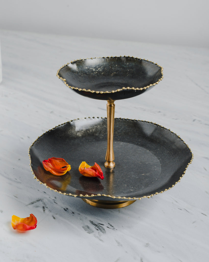 The Kesar Two Tier Cake Stand (Antique Black)