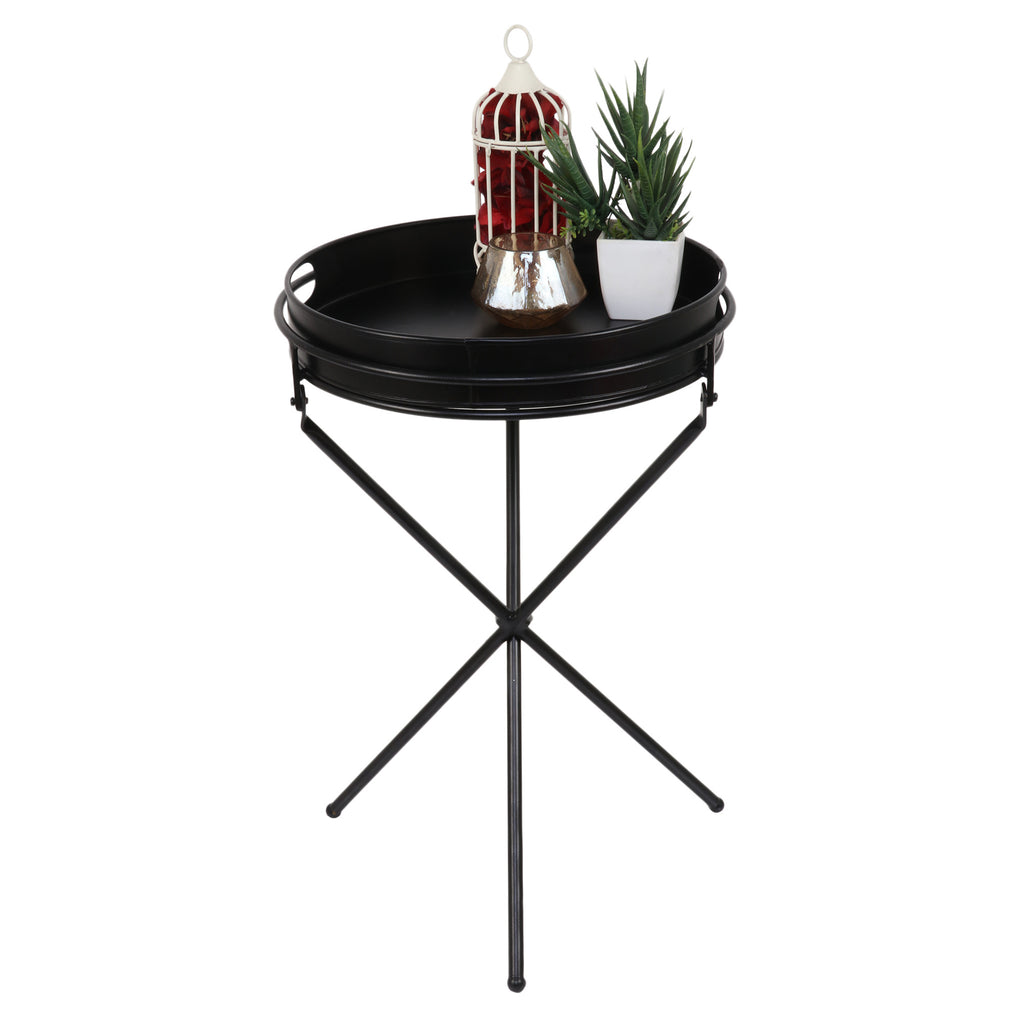 Elan Chic Side Table, Collapsible Table with Tray (Black)