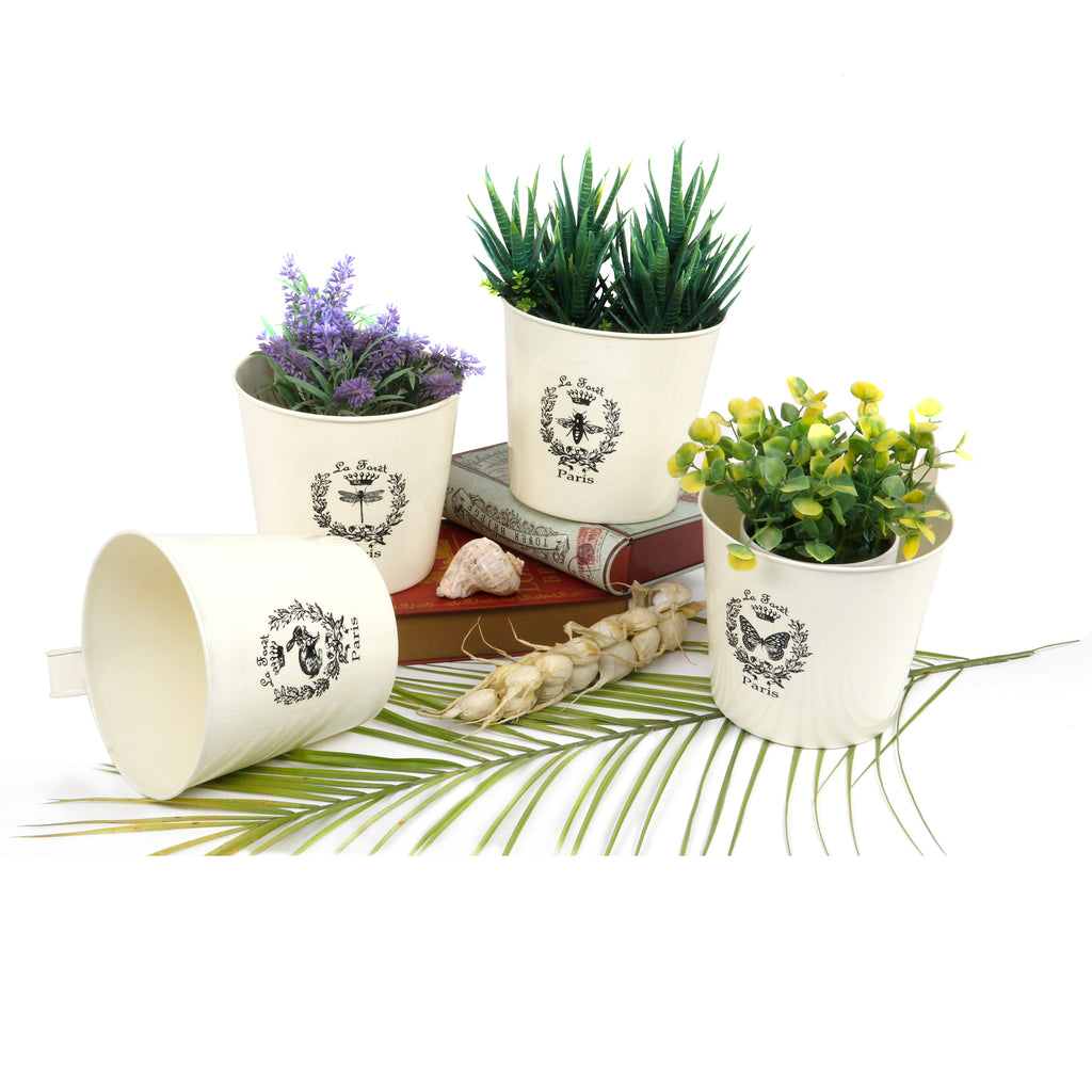 Elan Forest Planter Collection, Pots for Balcony (Set of 4, Off White)