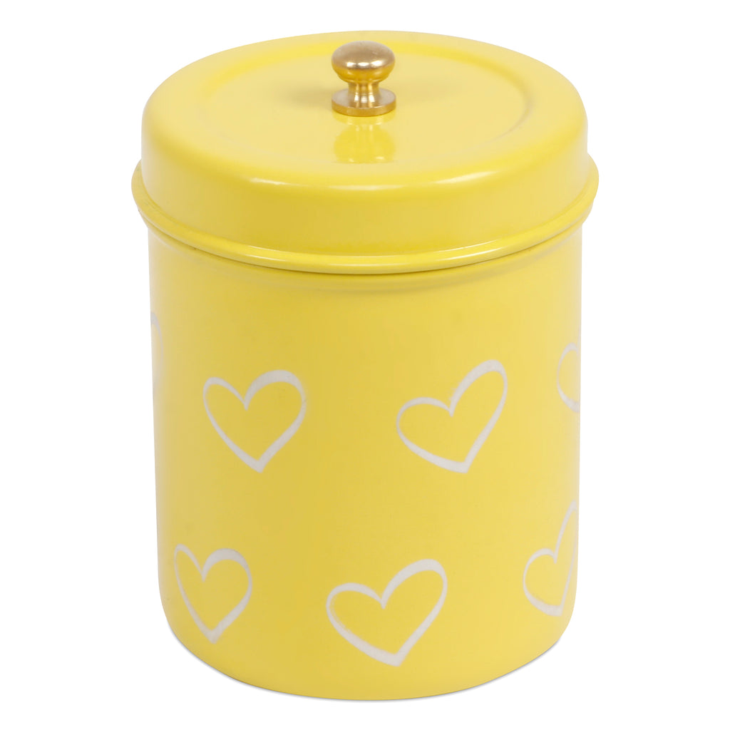 Elan Hearts Canister, Stainless Steel (500ml, Yellow)