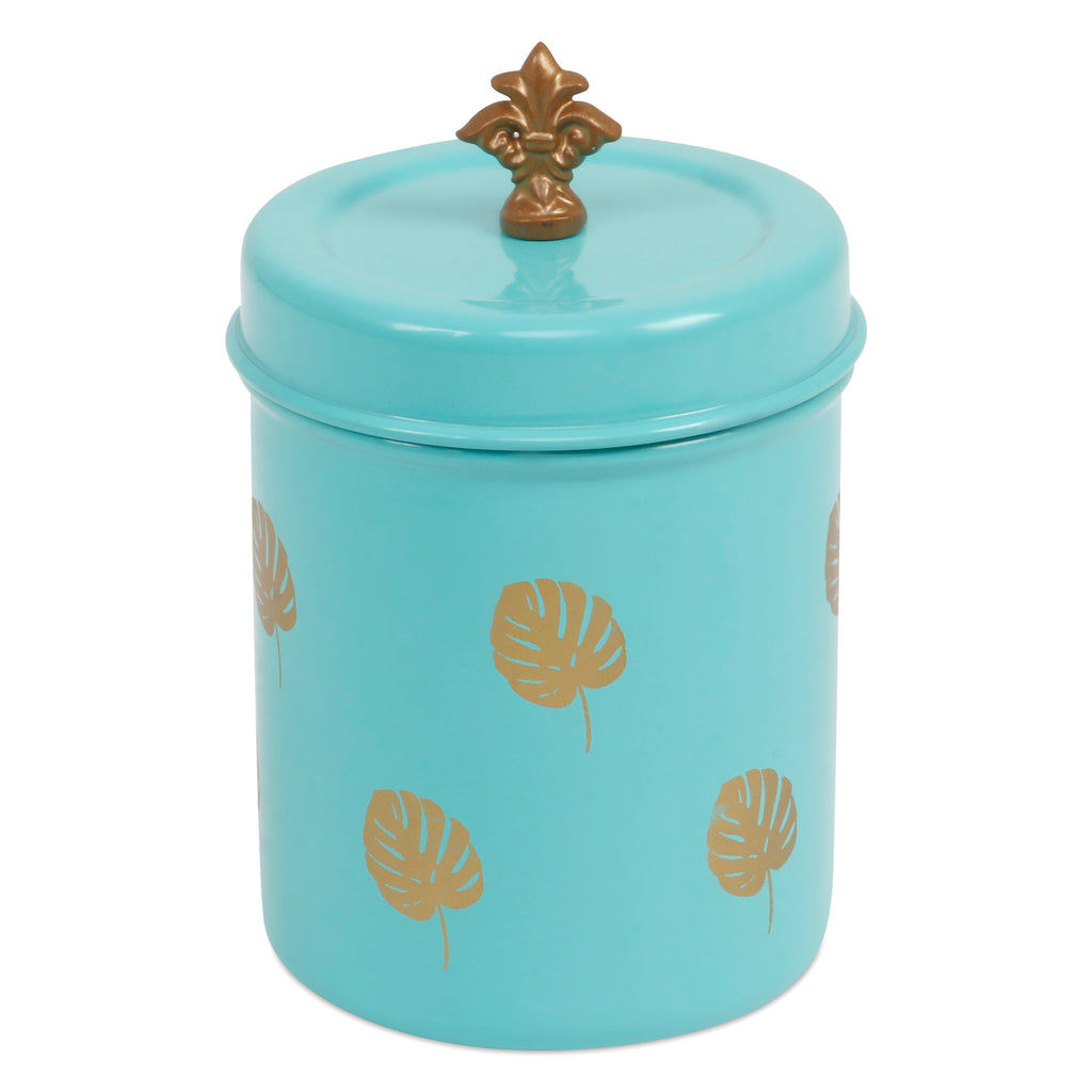Elan Split Leaf Canister Jar, Stainless Steel (500ml, Aqua)